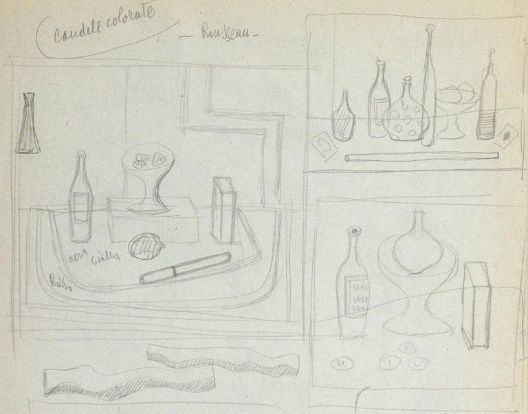 Colored Candles - Rosseau - Original Pencil Drawing by Atanasio Soldati - 1950s For Sale 2