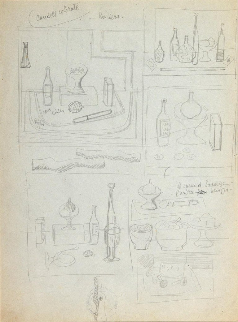 Candele colorate - Rosseau is an original drawing realized by Atanasio Soldati in the 1950s  Pencil on paper. Title upper right.   On the back study and stamp: Opere inventario Atanasio Soldati  Atanasio Soldati (Parma, 24 August 1896 - Parma, 27