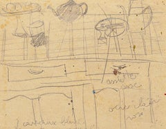 Still Life - Original Pencil Drawing by French Master mid 20th Century