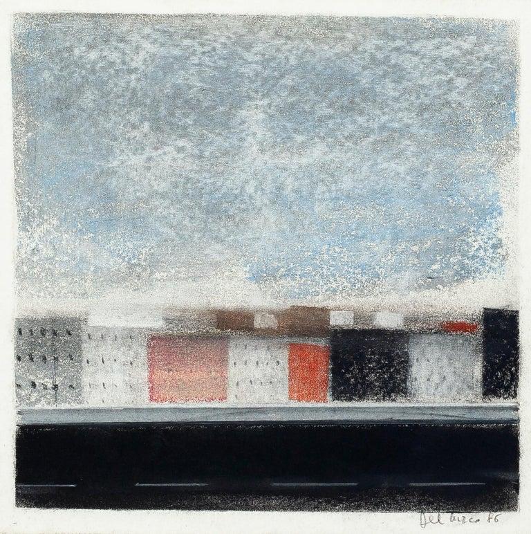Ottaviano Del Turco Landscape Art - Landscape - Original Pastel Drawing by O. Del Turco - 1986
