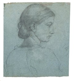 Portrait of Woman - Original Pencil Drawing by Nino Costa - Late 19th Century