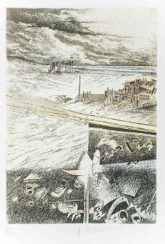 Spiaggia e Soria - Original Etching by Mario Logli - 1986