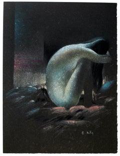 Femme Nue Recroquevillée - Original Lithograph by B. Kelly - 1980s