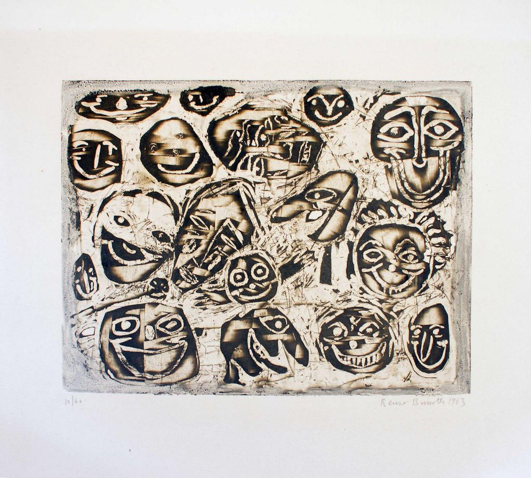 Masks - Original Lithograph by Renzo Bussotti - 1963