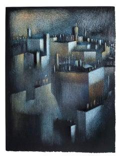 La Ville - Original Lithograph by B. Kelly - 1980s