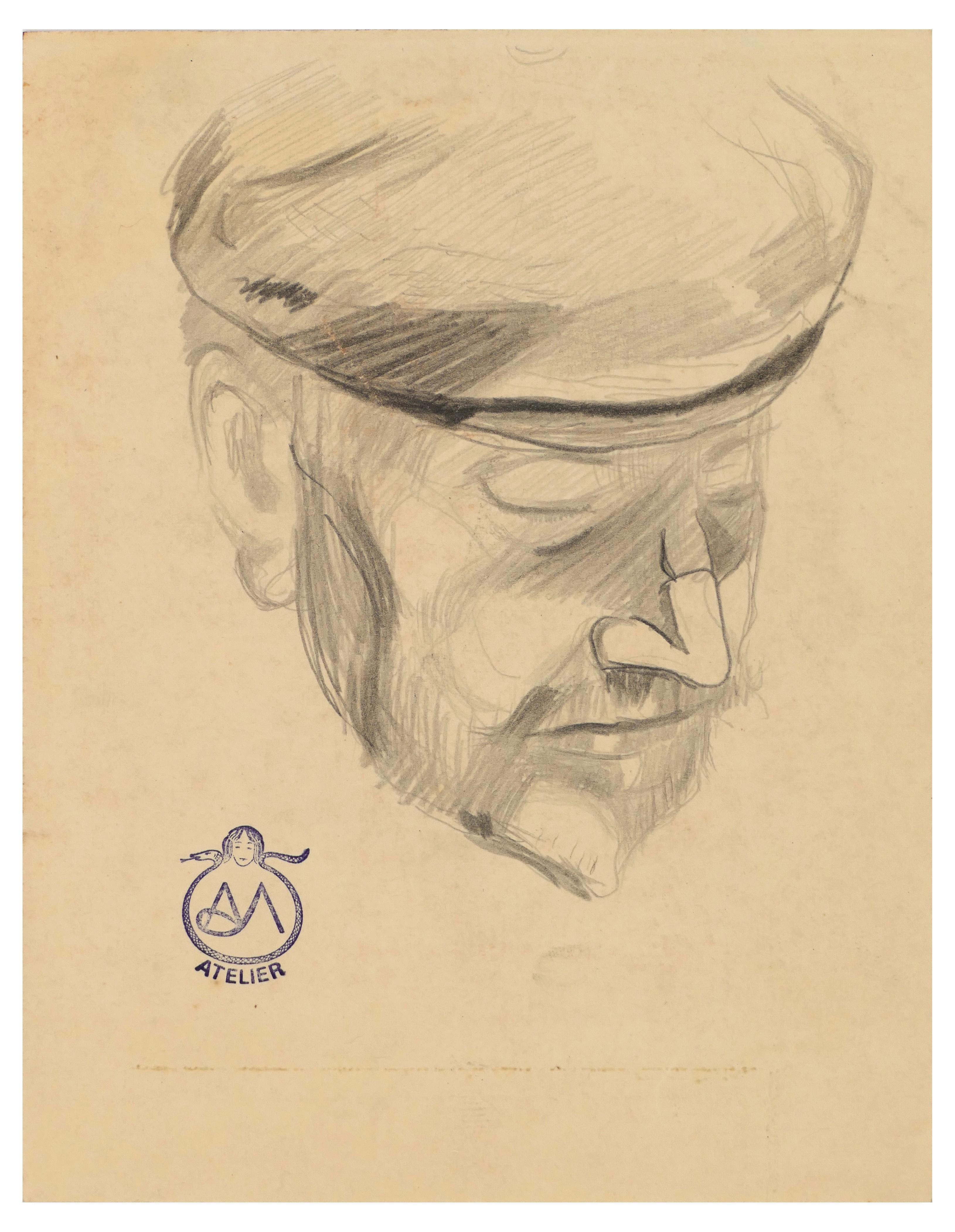 Portrait - Charcoal Drawing on Paper by A. Mérodack-Jeanneau