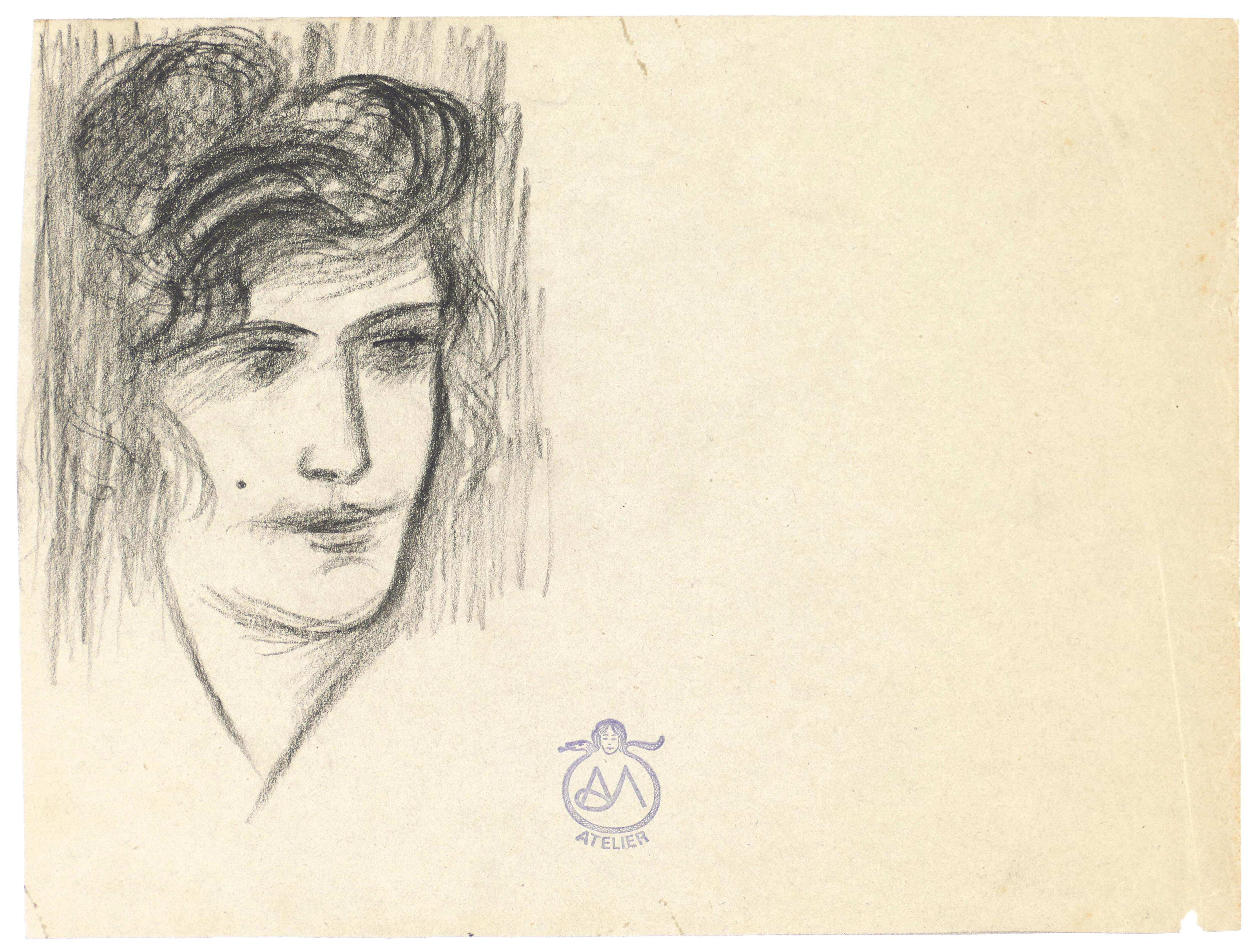 Woman Portrait - Charcoal on Paper by A. Mérodack-Jeanneau