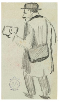 Man Seen From Behind - Charcoal on Paper by A. Mérodack-Jeanneau