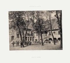 Geneva, Cour Du Collège - Lithograph by A. Fontanesi - 1854