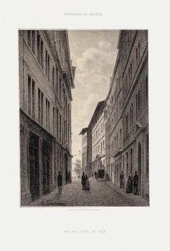 Geneva, Rue De L'Hôtel De Ville - Lithograph by A. Fontanesi - 1854