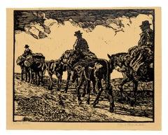 Night Returne - Original Woodcut by C. D'Aloisio Da Vasto - Mid 1900