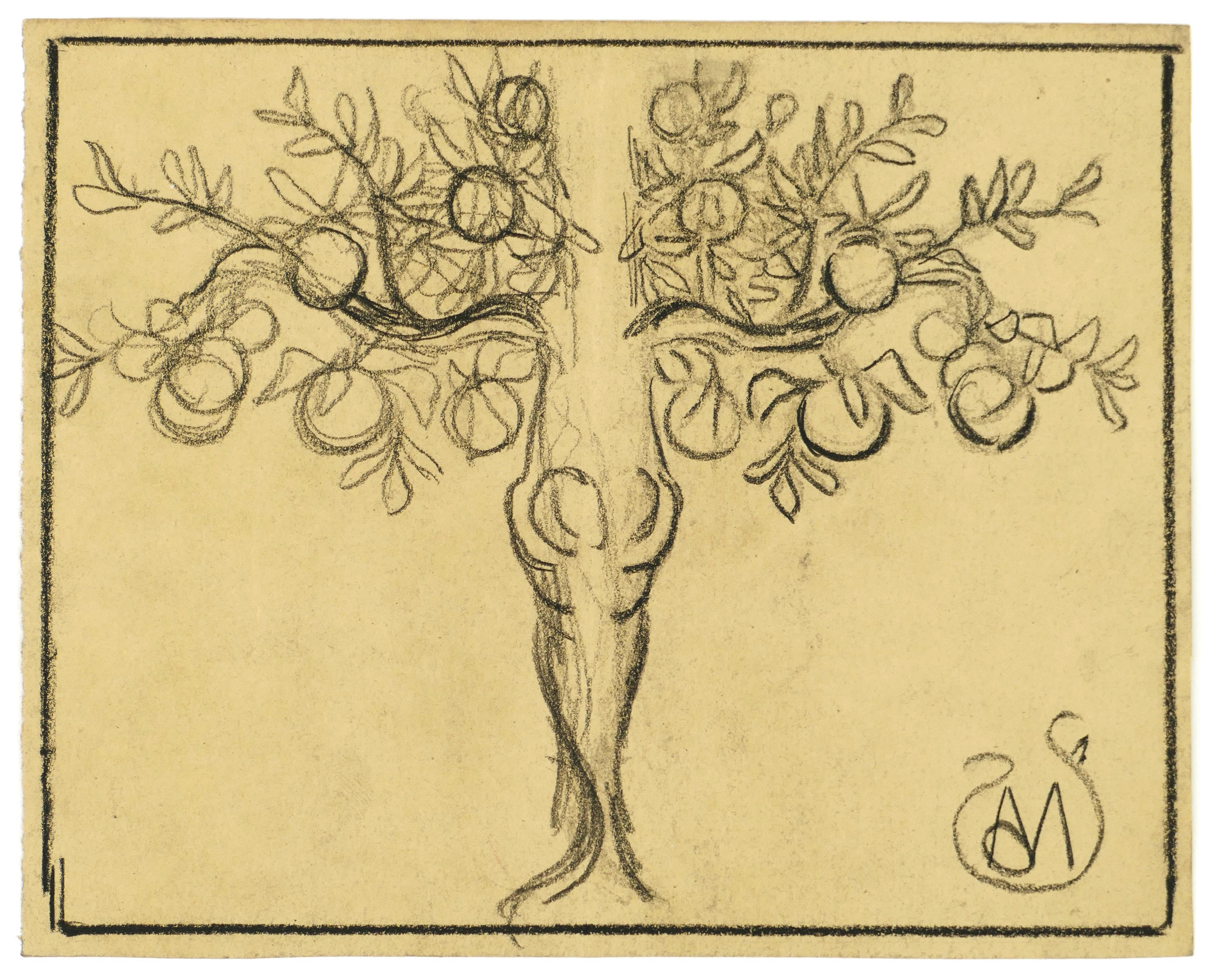 Fruit Tree - Charcoal on Paper by A. Mérodack-Jeanneau