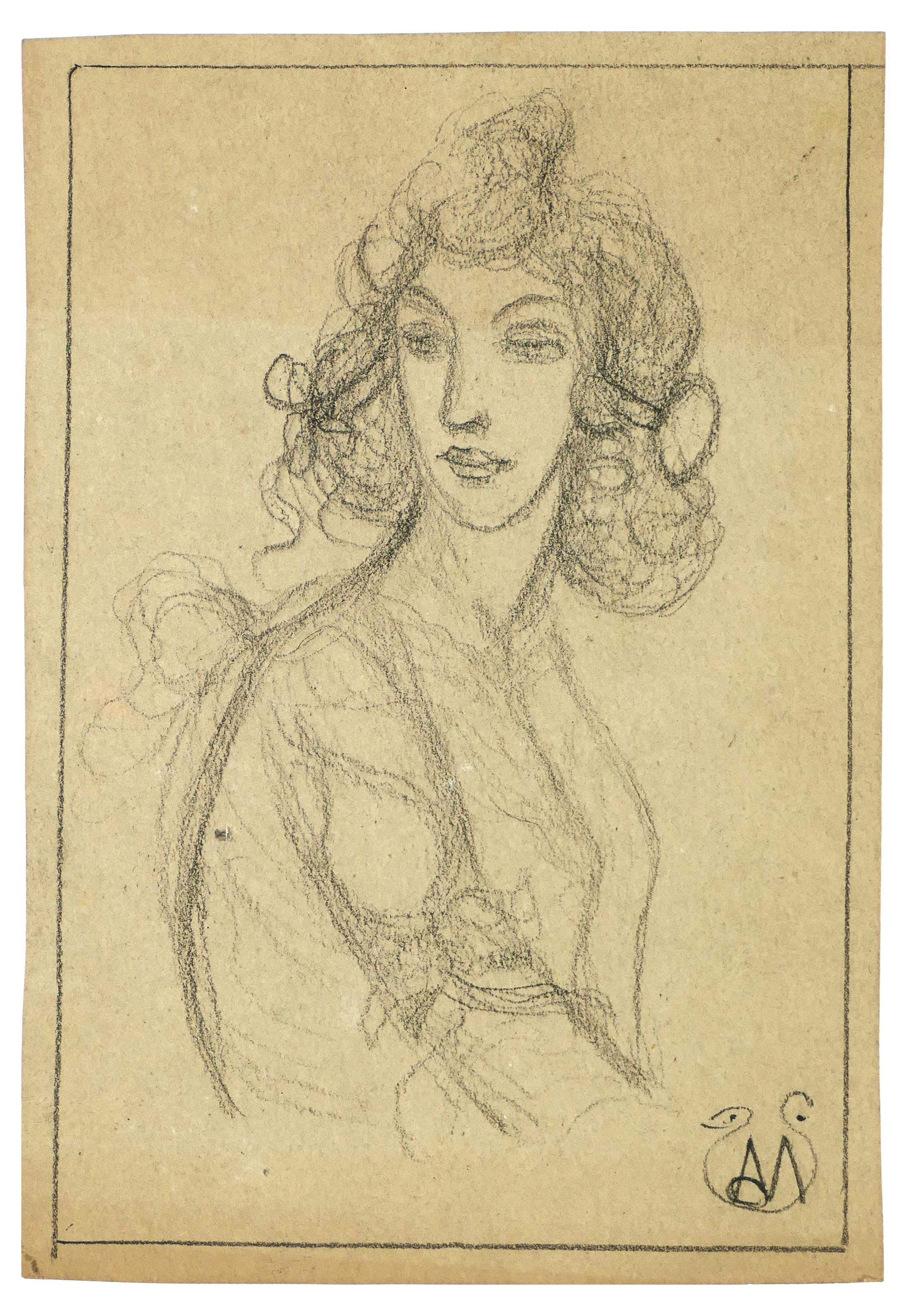 Woman Bust - Pencil on Paper by A. Mérodack-Jeanneau