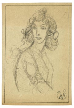 Woman Bust - Pencil on Paper by A. Mérodack-Jeanneau