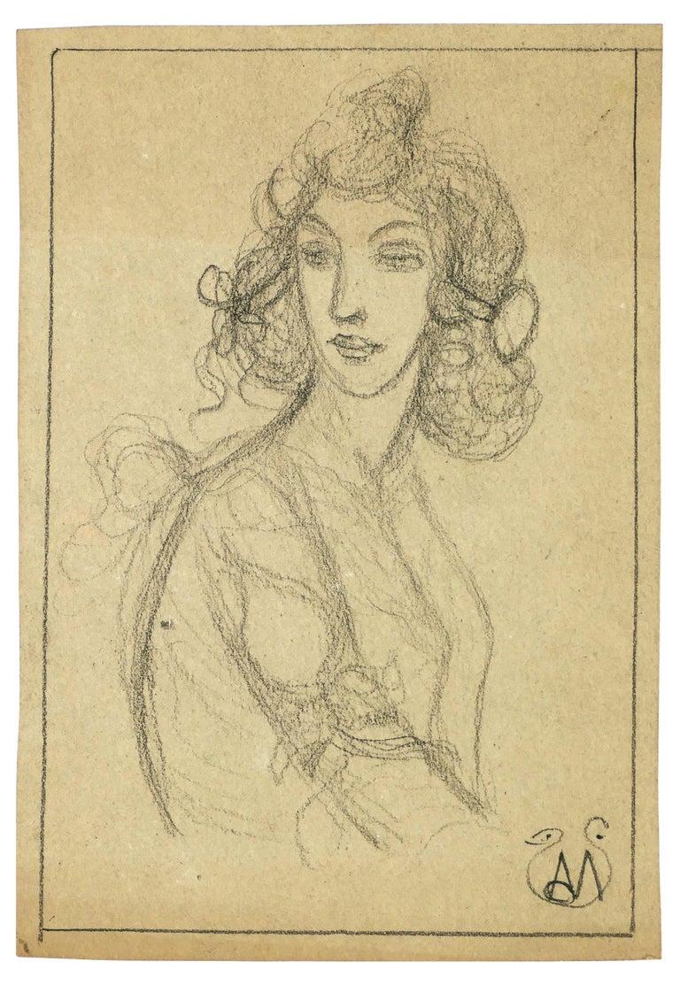 Alexis Mérodack-Jeanneau Figurative Art - Woman Bust - Pencil on Paper by A. Mérodack-Jeanneau