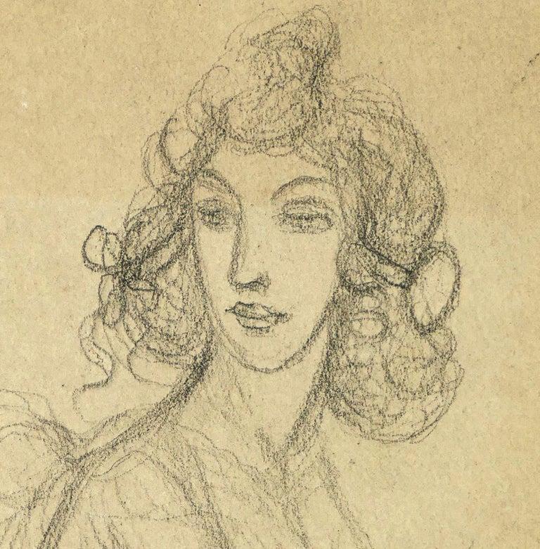 Woman Bust - Pencil on Paper by A. Mérodack-Jeanneau - Modern Art by Alexis Mérodack-Jeanneau