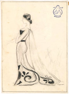 The Bride - Pencil and Charcoal Drawing on Paper by A. Mérodack-Jeanneau
