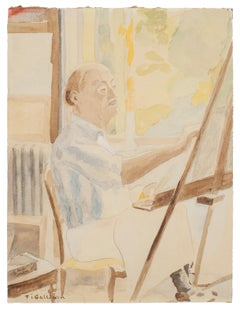 Painter - Watercolor by French Master - mid 20th Century