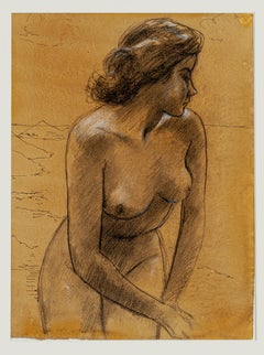 Nude Woman - Pencil And Pastel Drawing - Early 20th Century
