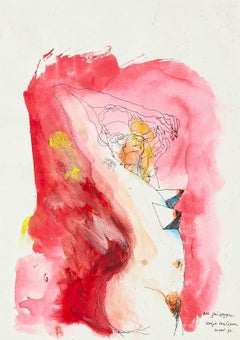 Nude  - Original Ink and Watercolor Drawing by Sergio Barletta - 1990s