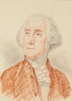 Portrait of George Washington - Pencil and Pastel Drawing End of 18th Century