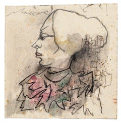 Portrait - Charcoal and Watercolor Drawing by M. Maccari - 1985