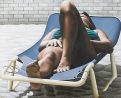 Woman Sunbathing - Oil on Canvas by A. Titonel - 1975
