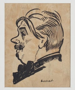 Portrait - China Ink on Paper by Willem Van Hasselt - Mid 20th Century