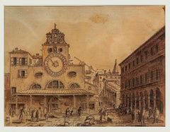 Venice Landscape - Original Ink and Watercolor - 18th Century