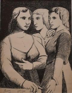 Three Twins - Original Lithograph by P. Borra - 1950s