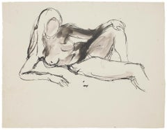 8 Original Nude Pen, Pencil and China Ink Drawings by French Master 20th Century
