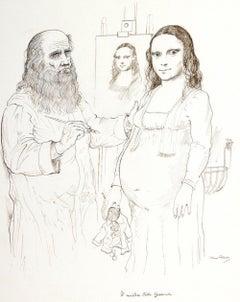 Gioconda's Mystery - Original Drawing by B. Caruso- 1970s