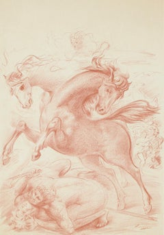 Horses - Original Lithograph by Aligi Sassu - 1965