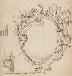 Mirror - Original Etching After F. Bibiena - Late 16th Century