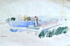 City View - Watercolor by French Master - Mid 20th Century