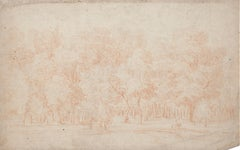 Forest - Original Sanguine Drawing - 18th Century