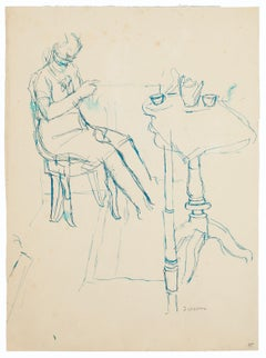 Figure In The Room - Original Green Ink Drawing - 20th Century