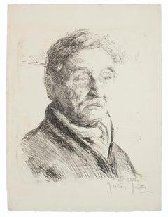 Portrait - Original Lithograph by Jules Joets - Mid 20th Century