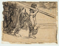 Worker - Ink and Pencil Drawing by G. Galantara - Early 20th Century