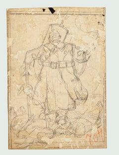 Figure - Pencil Drawing by Gabriele Galantara - Early 20th Century