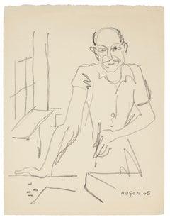 Painter - Original Lithograph by E. Hugon - 1945
