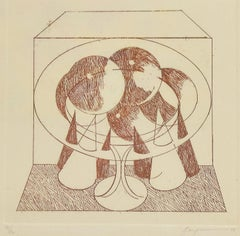 Abstract Composition - Original Etching by Danilo Bergamo - 1975