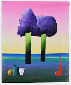 Geometric Landscape - Original Mixed Media by Danilo Bergamo - 1970s