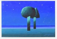 Night Landscape  - Original Mixed Media by Danilo Bergamo - 1970s