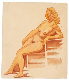 Nude Woman - Watercolor by French Master - Mid 20th Century