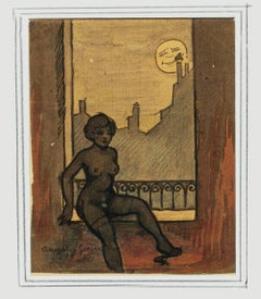 Woman and Moon - Original Mixed Media by Angelo Griscelli - 1950s