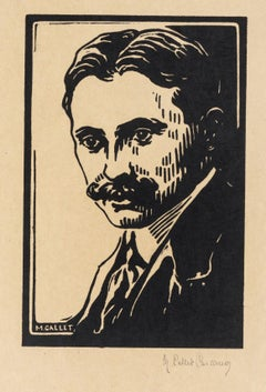 Portrait - Original Woodcut Print by M. Callet-Carcano - Mid 20th Century