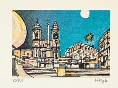 Piazza di Spagna - Rome - Original Etching by Giuseppe Megna - 1980s