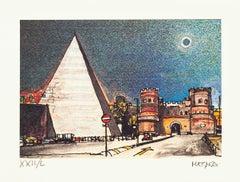 Piramide Cestia - Rome - Original Etching by Giuseppe Megna - 1972
