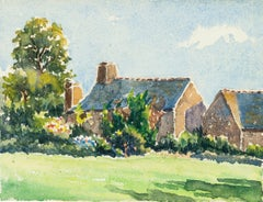 Village Houses - Watercolor by French Master - Mid 20th Century